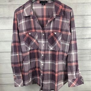 Sanctuary Linen Flannel Style Plaid Button Down